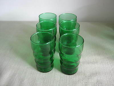 "6 Vintage Anchor Hocking Forest Green Juice Glasses, Tumblers, 3 5/8"", Ribbed"