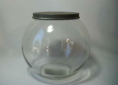 Antique Round Hoosier Storage Glass Canister Jar w/ Tin Lid Sellers Cabinet