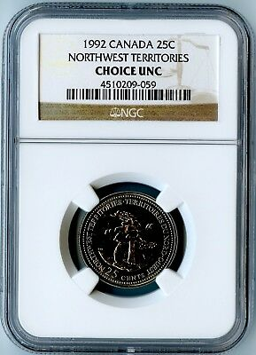 1992 Canada Ngc Choice Uncirculated Northwest Territories Quarter 25C! Rare!