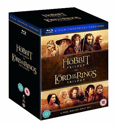 Middle Earth Lord of the Rings and Hobbit Trilogy Collection [Blu-ray] New