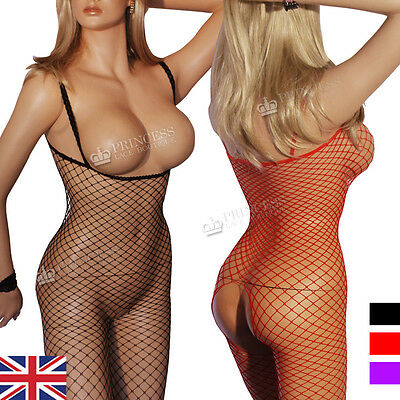 Crotchless Bodystockings Large Hole Plain Tights Stockings Red Purple S M UK