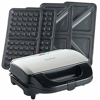 VonShef 2 in 1 Deep Filled Sandwich and Waffle Maker with Removable Plates - 800