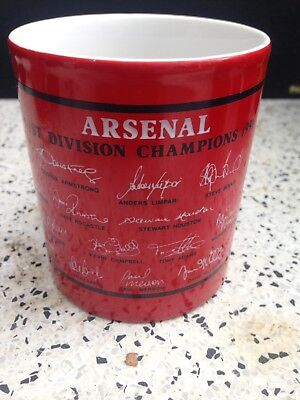 Vintage Arsenal Football Club Mug League Winners 1991 Team Autographs