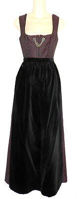 Long Dirndl Dress in Brocade with Velvet Apron German Size 36