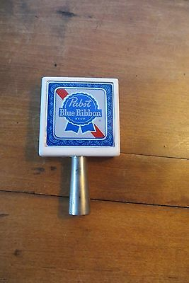 Old Pabst beer tapper, blue ribbon, knob, handle, bar, double sided