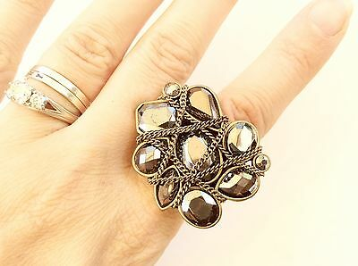 Statement Ring With Chains Adjustable Size With Stretch Band