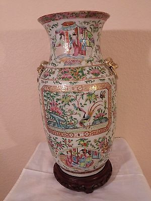 Chinese Canton Palette Mandarin Large Vase 1840 - 1880 All Enamel Painted