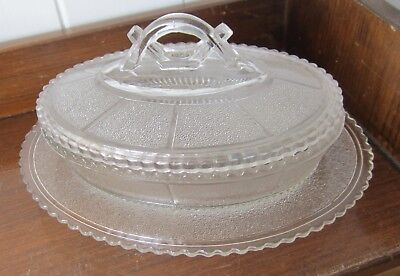 Aesthetic Movement Victorian pressed glass dish & lid muffins?butter date1880