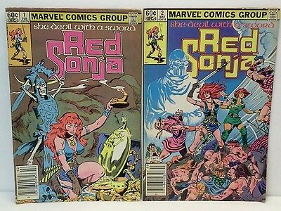 Red Sonja #1 #2 Marvel Comics 1983 Comic Book Lot Vg