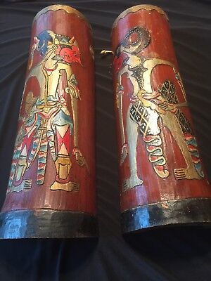 PAIR ANTIQUE CHINESE HAND CARVED BAMBOO WALL PLAQUE signed