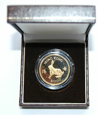 "1987 Hong Kong $1000 ""Year of the Rabbit"" Proof Gold Coin Box"