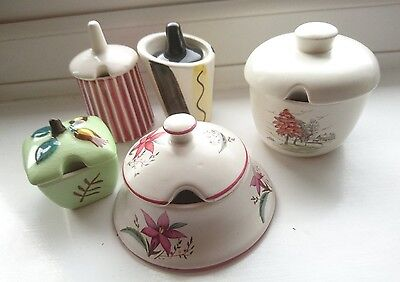 Collection of 5xVintage Mustard Pots all A/F Midwinter, Carlton Ware etc