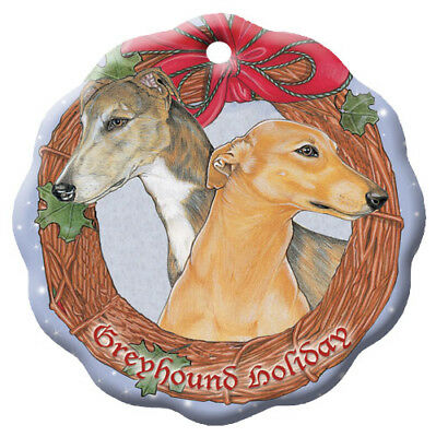 Greyhound Brindle and Fawn Greyhound Holiday Porcelain Christmas Tree Ornament