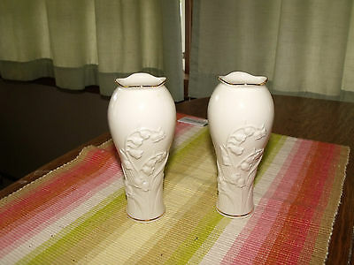 Lenox China Lily Of The Valley Vase Pair 5/12 Inches Tall