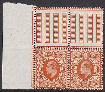Gb 1911 Harrison Perf 15X14 4D Bright Orange Pair With Gutter Margins, Stamps Um