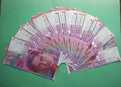 Monnaie Suisse - billets Monde - lot 14 Billets de 20 francs suisse Collection