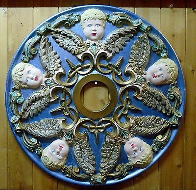 """Fabulous Vintage Cherub Ceiling Medallion in Relief  24"""" Hand Painted"""
