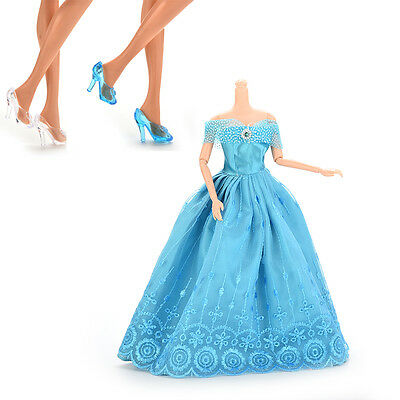 Princess Gown Dress and 2 Pairs Blue White Crystal Shoes for Barbies Dolls STUK