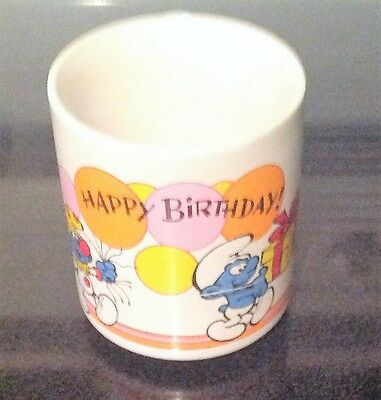 Smurfs Wallace Berrie Vintage Happy Birthday Coffee Mug Cup 1981