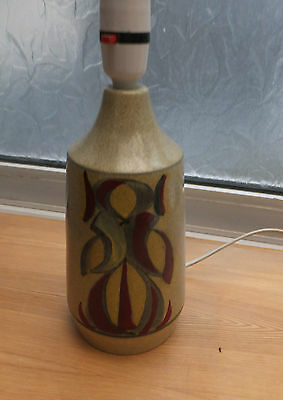 1970s Large Abstract Honiton Devon Pottery Lamp Base- Red Pattern