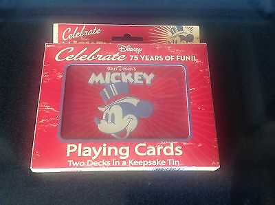 Mickey Mouse  2 decks of Bicycle Playing Cards Celebrating 75 Years  Disney Fun