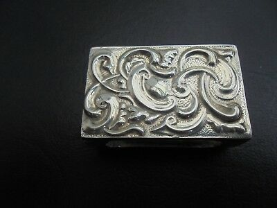 Antique Solid Silver Match Box Cover. Lovely Ornate Design, see photos.