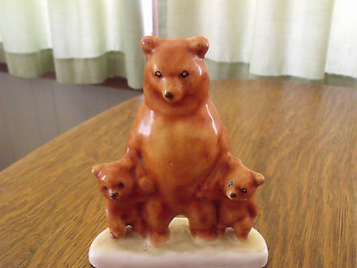 Majolica Momma Bear And Two Cubs Figurine