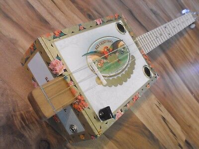 Weeklyhouse Cigar Box Guitar Acoustic Electric 3 String  Watch A Video Demo