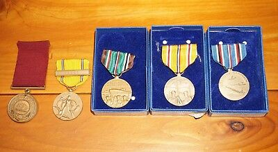 US Navy Good Conduct Medal Named 1939 + Campaign Medals WWII USN C587