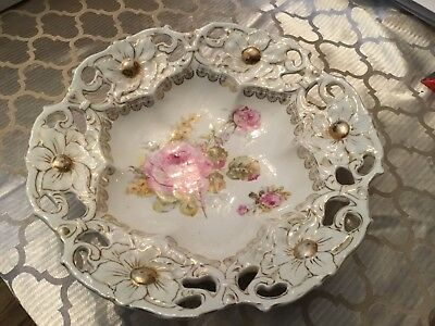 GERMAN porcelain Center Piece Bowl Reticulated
