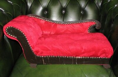 Unusual vintage red velvet upholstered chaise lounge/ sofa, teddy bears or dolls