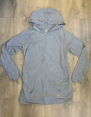 NWOTGap Fit Maternity Gray Zip Up Thin Work Out Hoodie Sweatshirt Jacket Size L