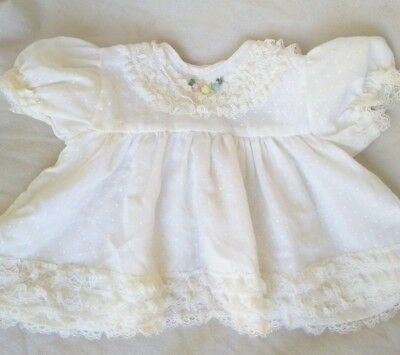 Vintage Girl's Gown, White, Embroidered,  Newborn-3 Months Baby Dress