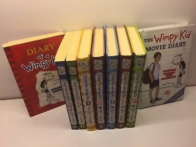 Diary of a wimpy kid by Jeff Kinney 1-8 plus first movie diary