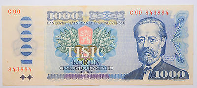 Chechoslovakia: 1000 Korun banknote since 1985 aXF Condition. Number: C90 843884