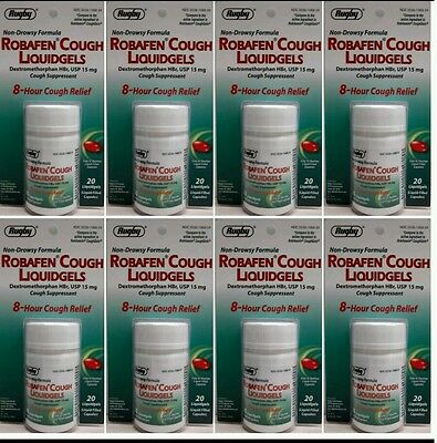 Dextromethorphan Generic for Robitussin Coughgels Cough Relief 20 ea. Pack of 8