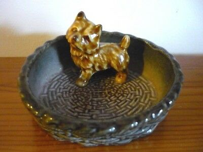 Wade Terrier Puppy Dog in Basket Pin Dish