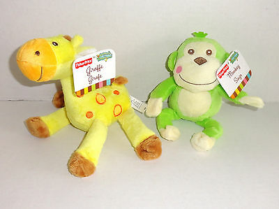 New Fisher Price Animals of the Rainforest Plush Monkey Giraffe Lot Set NWTs P59