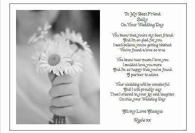 To My Best Friend On Her Wedding Day Unique Personalised Poem Gift Card