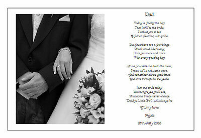 Personalised Wedding Day Poem Gift -  To the FATHER of the Bride