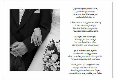 Personalised Wedding Day Poem Gift - From Father of Bride to Daughter