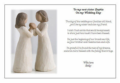 Personalised Wedding Day Poem Gift To My New Sister In Law