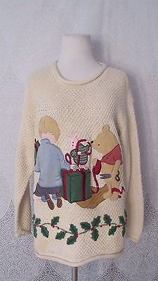 Vintage Disney Classic Winnie The Pooh Women's Christmas Sweater Cream Size M