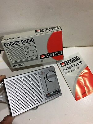 VINTAGE MATSUI  POCKET RADIO  AM(MW) BAND FROM THE 1960S-1970s+BOX