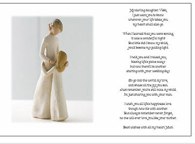 Personalised Wedding Day Poem Gift From Mother Of Bride To Daughter