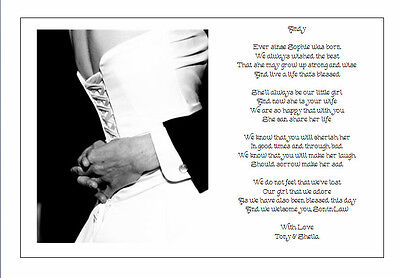 Personalised Wedding Day Poem Gift From Brides Pas To Son In Law