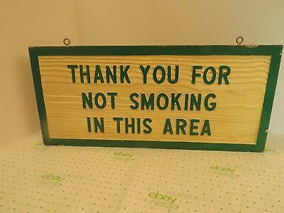 """SOLID WOOD NO SMOKING SIGN Measures 20"""" x 9"""" DOUBLE SIDED HANGING"""