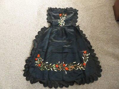Antique Silk Victorian Apron Hand Embroidered Poppies with Black Lace Beautiful