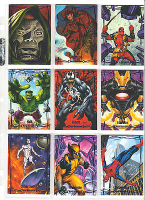 2016 Upper Deck Marvel Masterpieces 1-90 epic purple set plus chase (143 cards)