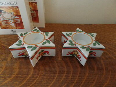 Hutschenreuther Germany Christmas Star-Shaped Votive Pair